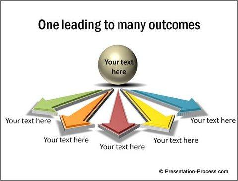 Diverging 3D arrows in PowerPoint