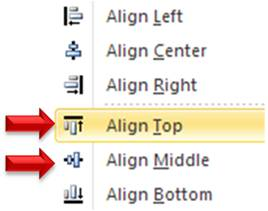 Align Top and Align Middle Options
