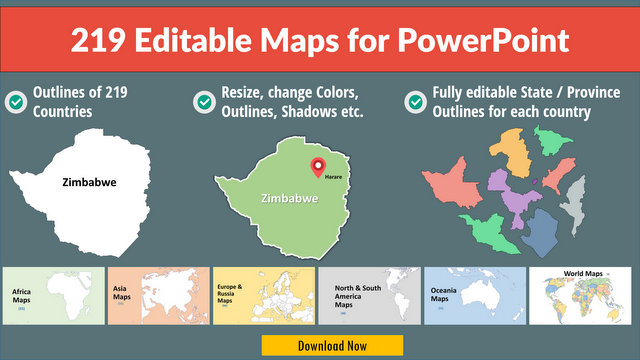 219 Editable PowerPoint Maps Pack on