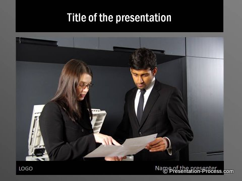 Black Color Serious PowerPoint Template for Title