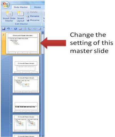 Change setting of master slide layout