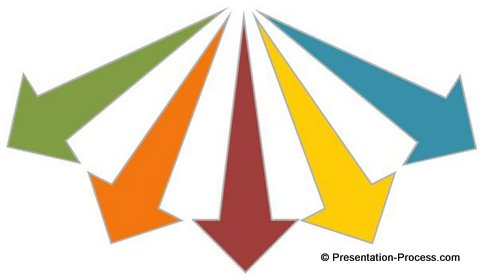 create beautiful diverging 3d arrows in powerpoint, Presentation templates