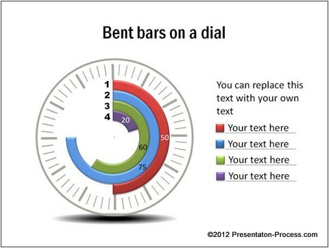 4.Bent Bars On A Clock Dial:  Graphs And Charts Templates