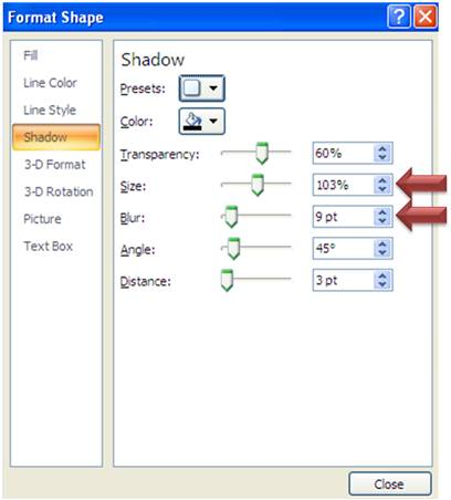 Formatting PowerPoint Shape Shadow