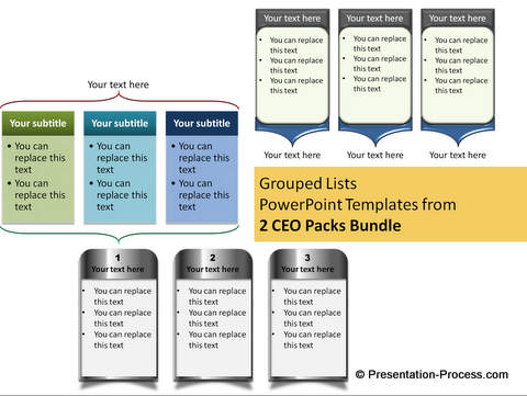 Grouped Lists Examples from CEO pack