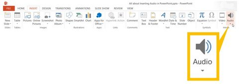 Insert Audio Option in PowerPoint