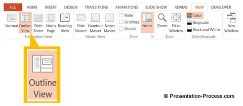 Outline View Menu in PowerPoint