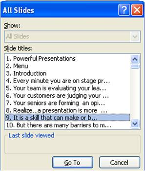 PowerPoint Shortcuts All Slides Image