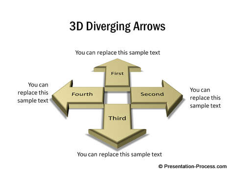 3D Diverging Arrows created in PowerPoint