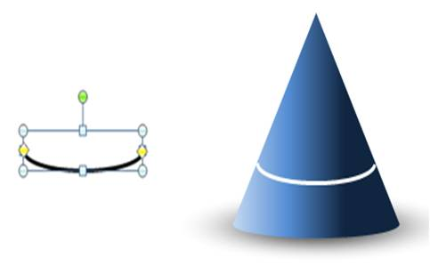 PowerPoint cone shape with arcs