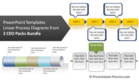 Linear Process Diagrams from PowerPoint CEO Packs Bundle