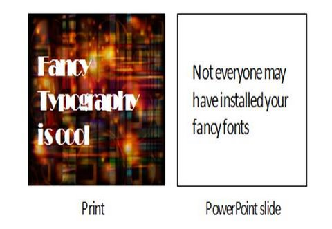 powerpoint slide vs print media typography and font