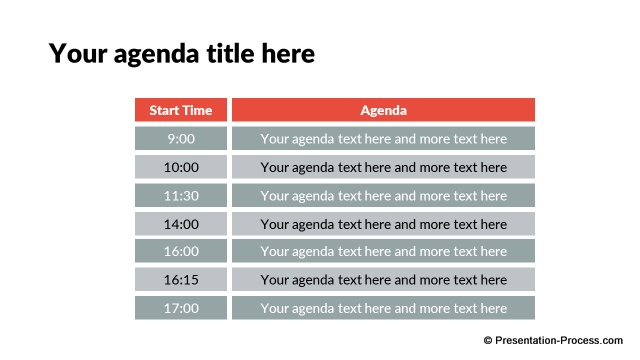 Agenda with time