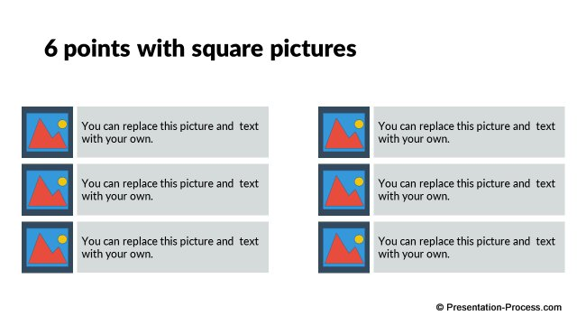 6 Points with square pictures