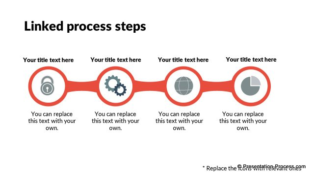 Linked process steps with icons