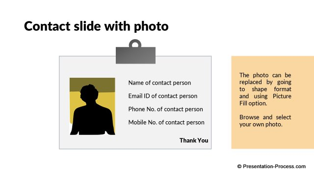 Contact slide with photo