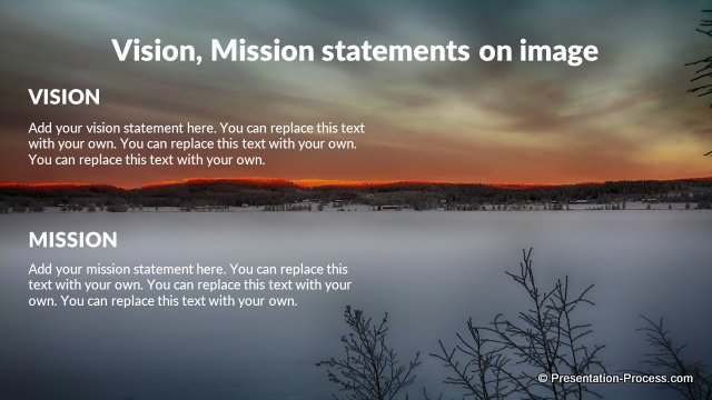 Vision, Mission statements on image