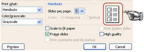 Handouts Per Slide Printing Option