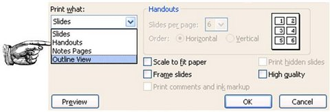 Printing options in PowerPoint Menu
