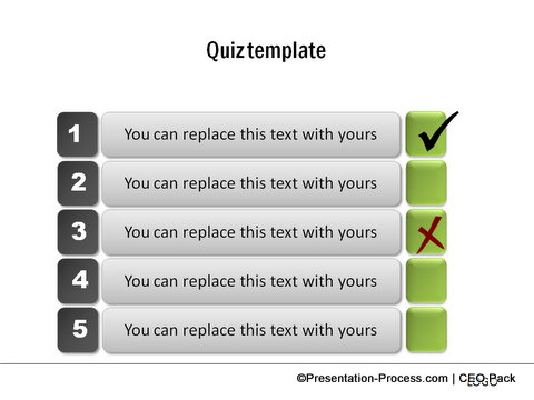 Create a quiz in powerpoint for Template for multiple choice questions