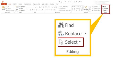 Selection Pane Menu in PowerPoint