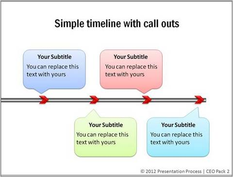 simple powerpoint timeline with callouts from ceo pack 2