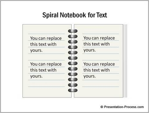 Spiral Notebook as Text Placeholder from PowerPoint CEO Pack 2