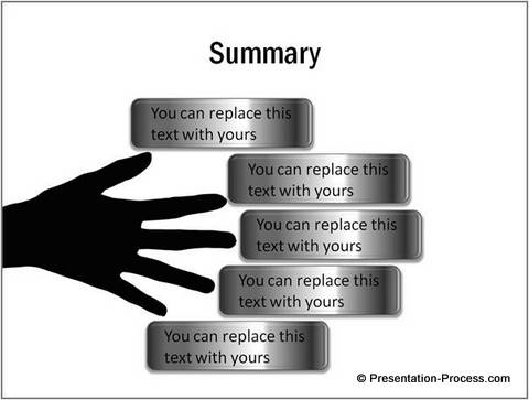 Template of a summary slide