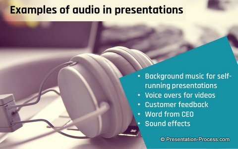 Examples of using audio in PowerPoint